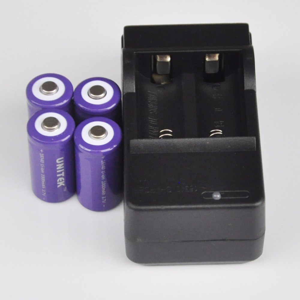 4-8PCS 3.7V 16340 rechargeable li-ion <font><b>battery</b></font> 1000mah + charger lithium ion cell <font><b>17335</b></font> CR123A CR 123A for LED laser flashlight image