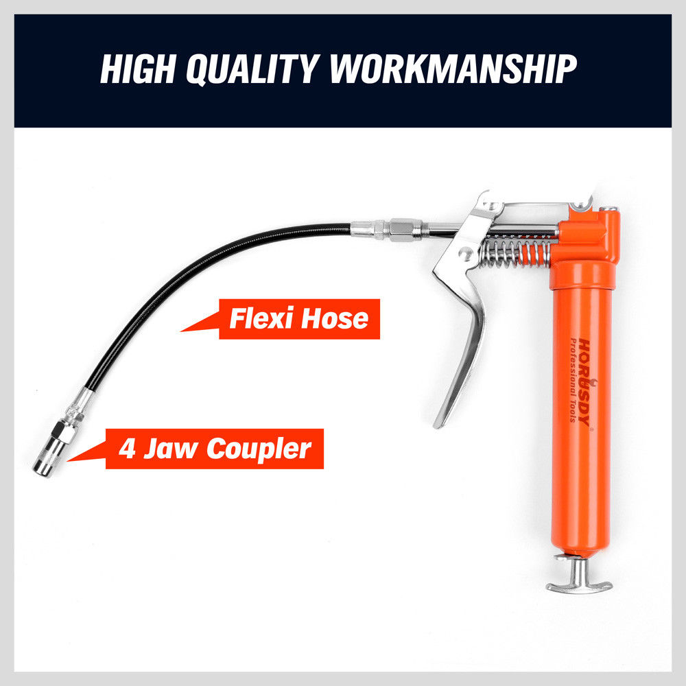 Tools : 2020- 2900 PSI Mini Grease Gun Manual Pistol Grip With 3OZ Cartridge Flexi Hose  amp  Coupler For Auto Parts Mechanical Lubrication