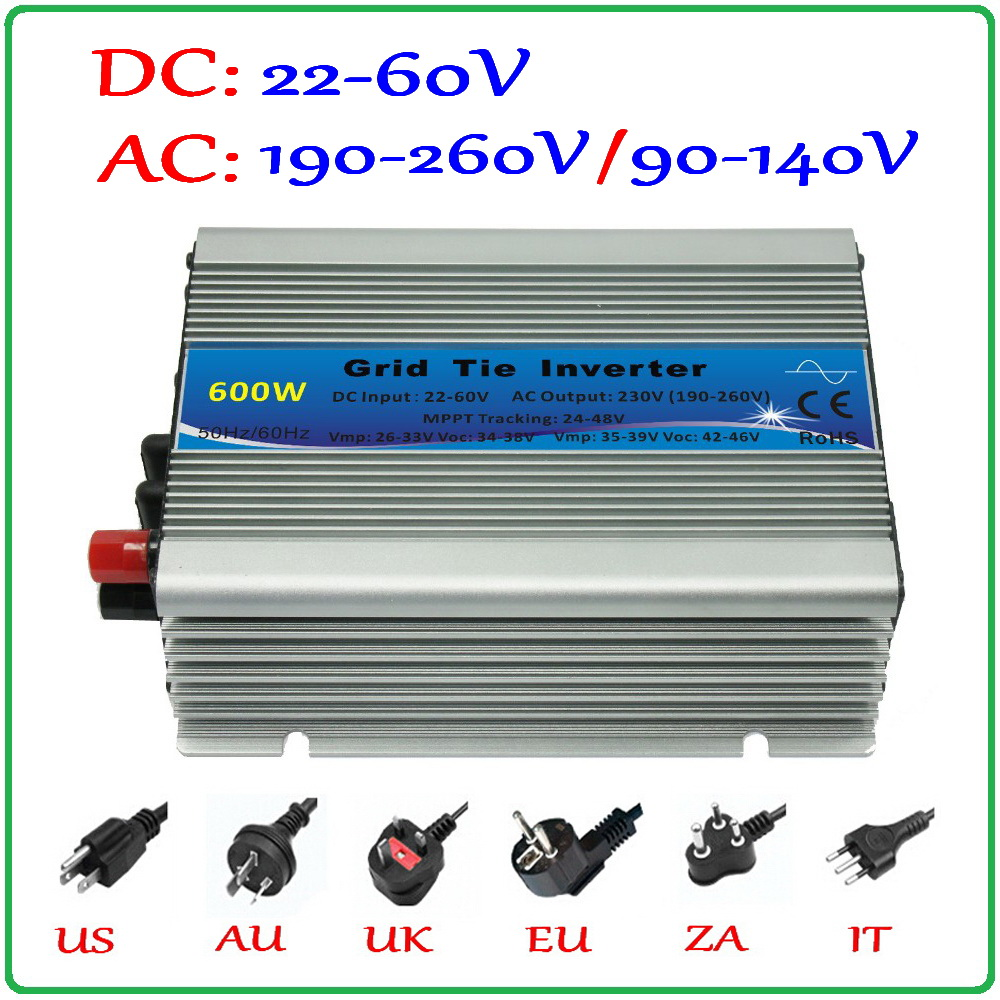 600W Grid Tie Inverter for 30V 60Cells and 36V 72Cells Solar Panel, MPPT function Pure Sine wave Micro On Grid Tie Inverter 600W mini power on grid tie solar panel inverter with mppt function led output pure sine wave 600w 600watts micro inverter
