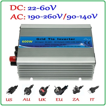 Inversor de conexión de rejilla de 600 W para 30 V 60 celdas y Panel Solar de 36 V 72 celdas, función MPPT pura onda sinusoidal Micro en la rejilla inversor de conexión 600 W
