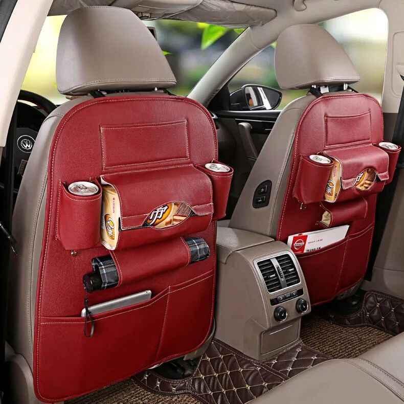 Offre spéciale siège de voiture rangement arrière organisateur sac universel PU cuir multifonction boîte de rangement rangement rangement poche Auto Styling