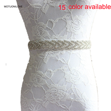 15 Colors Available Shinning Bridal Belts for Wedding Dress Womens Beading Sashes Red Rhinestone Belt Accessories WB002