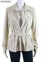 Arlenesain custom 2019 Новая модная превосходная Женская замшевая с поясом на пуговицах пуховик пальто бежевого цвета