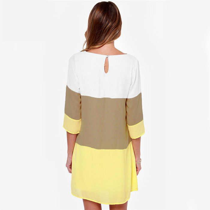 Topjini nouvelle mode grande taille S-6XL mousseline de soie Patchwork robe décontractée 5XL XXXXL XXXL trois quarts manches robes col rond