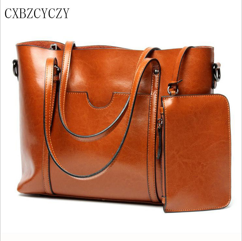 2017 Women Genuine leather Bag Luxury Brand Handbag Oil wax Shoulder Bag Famous Designer Women Bags Retro Ladies Big Bag Bolsas luxury genuine leather bag fashion brand designer women handbag cowhide leather shoulder composite bag casual totes