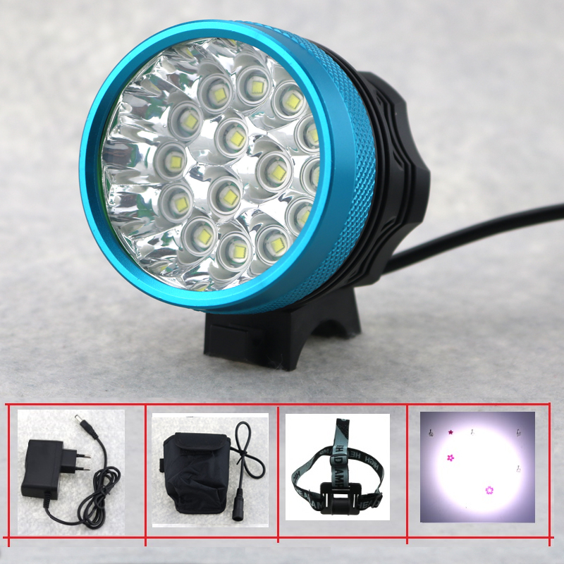 15LED Headlight 25000Lumens 15x Cree XM-L T6 LED Bicycle Light Cycling Bike Head Lamp + 12000mah 18650 Battery Pack + Charger 2 in 1 20000lm 16 x xm l t6 led rechargeable bicycle light bike headlight headlamp head lamp 18650 battery pack charger