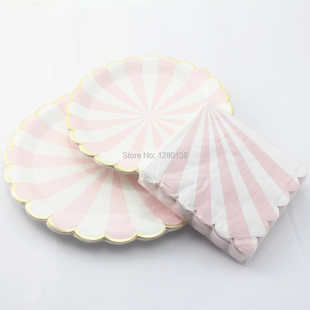 Scalloped Gold Foil Edge Paper Plates,Party Paper Dinner Napkins, Dusty Pink and White Striped Wedding Shower Tableware