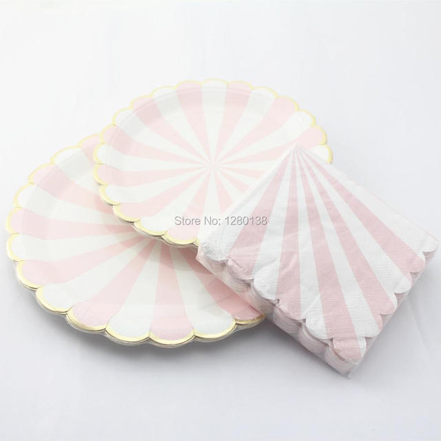 Scalloped Gold Foil Edge Paper PlatesParty Paper Dinner Napkins Dusty Pink and White & Scalloped Gold Foil Edge Paper PlatesParty Paper Dinner Napkins ...