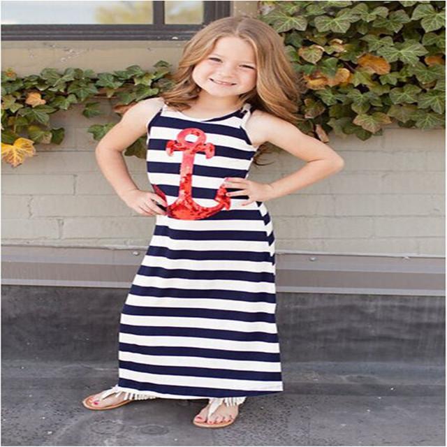 New 2017 Summer Girls Dress Fashion Children Sleeveless Striped Beach Dress Casual Cotton Brand Kids Vestido Infantil Clothes