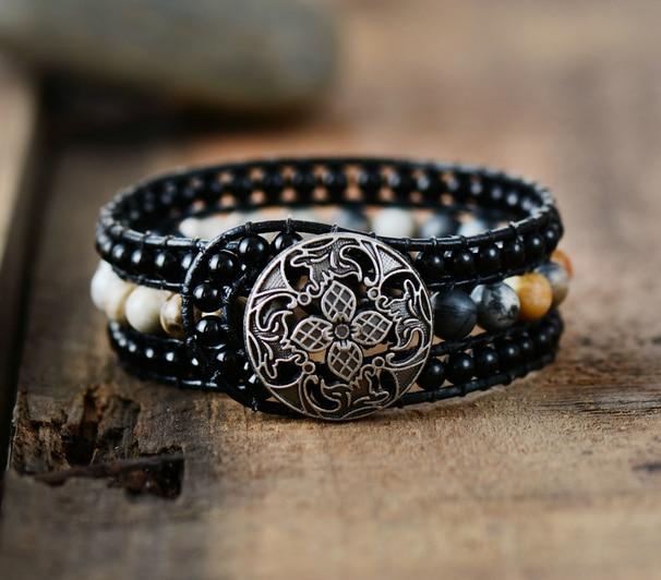 Boho cuff bracelet unique onyx leather wrap bracelets for Unique handmade jewelry wholesale