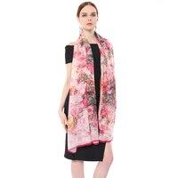 2017 New Fashion Large Size 100 Silk Scarf Luxury Brand Thin Chiffon Women Scarves Pink Floral