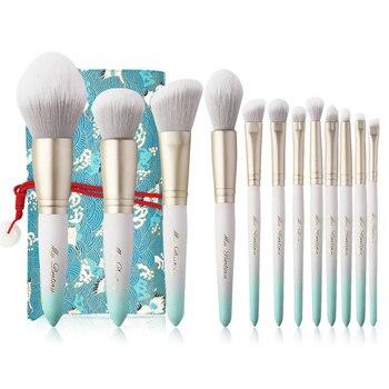 Profesional 12 Uds pinceles de maquillaje conjunto encantador Color del gradiente de la brocha para base y polvos de sombra de ojos mezcla cepillo cosmético con bolsa