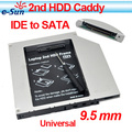 2013 Wholesale 10/PCSUltrathin slim IDE to SATA 9.5mm Universal Aluminum 2nd hdd caddy For Laptop Series