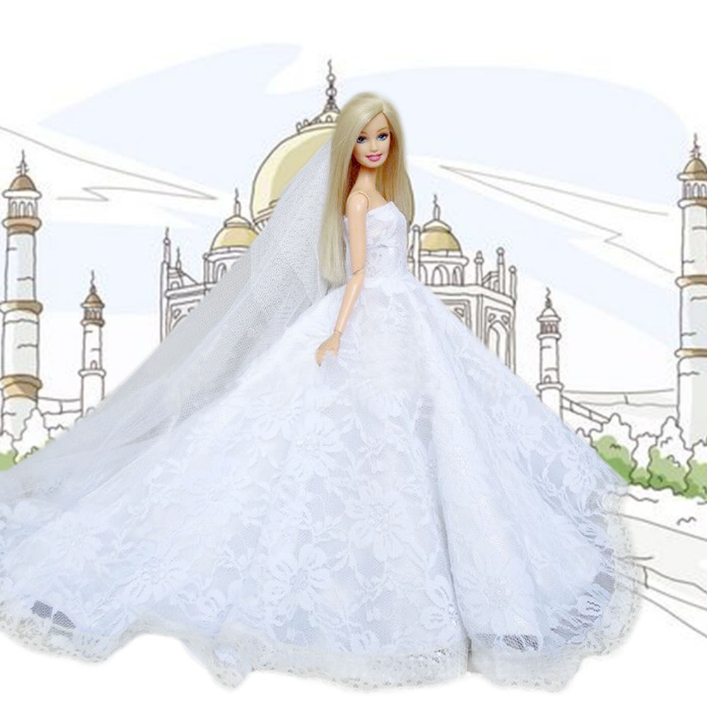 Satkago Fairy Girl Dolls Toys White Wedding Party Dresses Gown Outfits Clothes with Head Veil Doll Accessories for Barbie Toys
