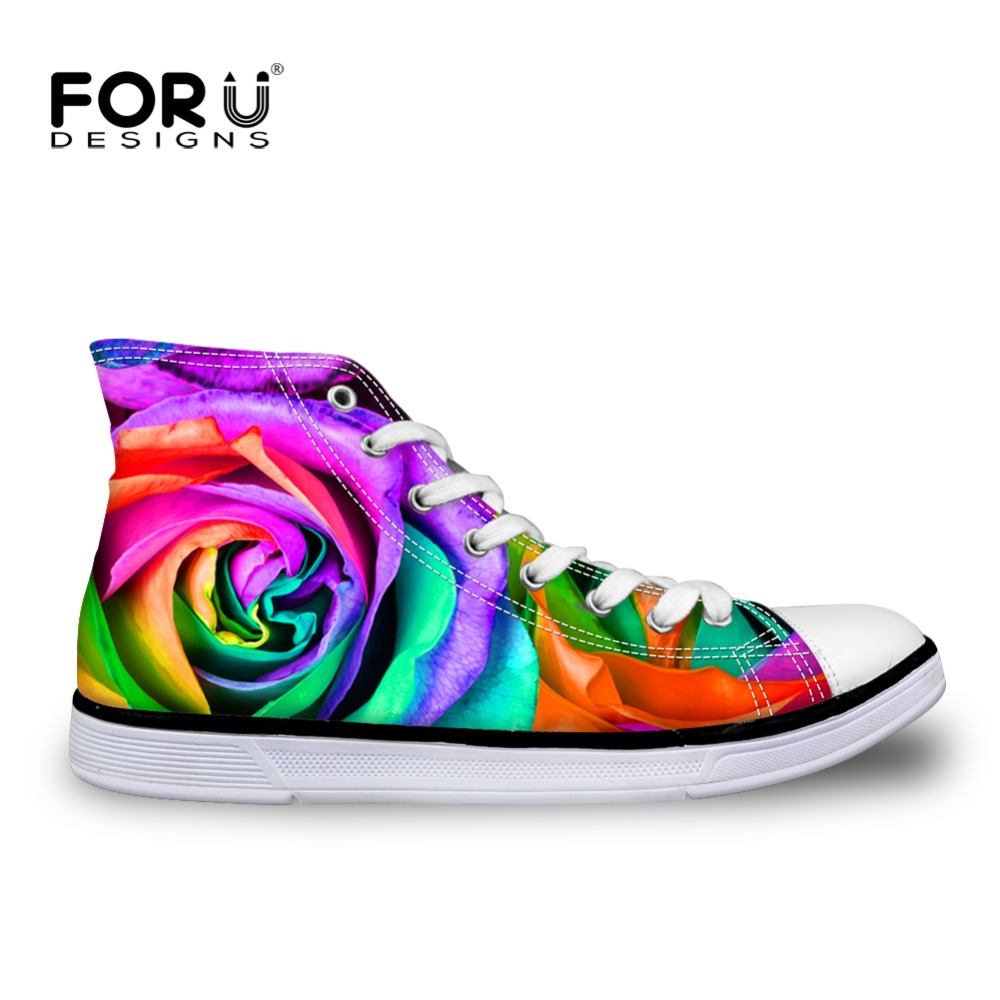 Summer Spring Autumn High-Top Women Canvas Shoes Floral Rose Colorful Print Casual Shoes For Female Women's Casual WalKing Shoes e lov women casual walking shoes graffiti aries horoscope canvas shoe low top flat oxford shoes for couples lovers