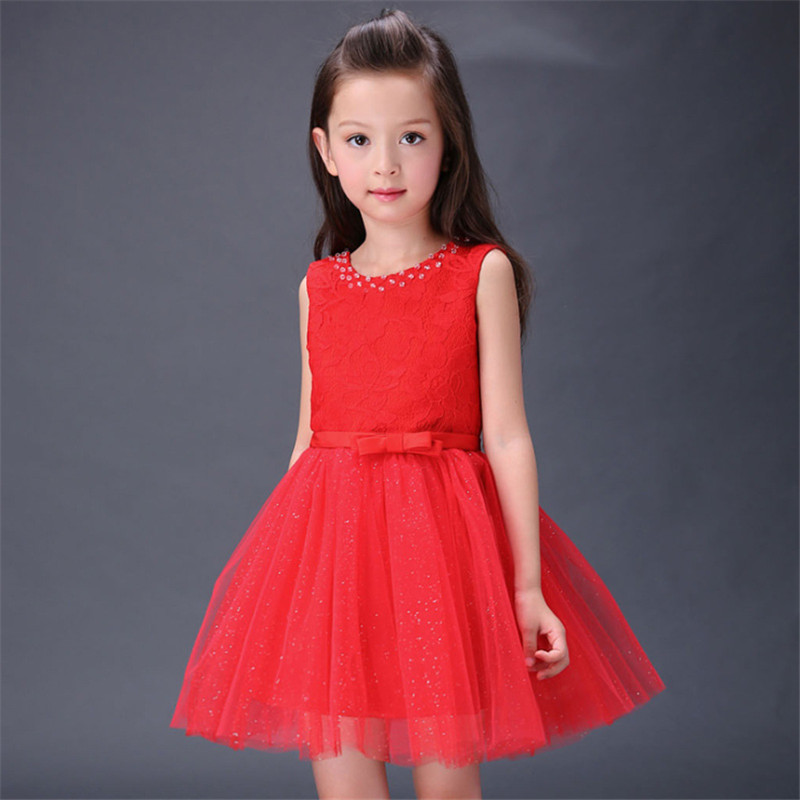 ФОТО 1pc Girls Red Sleeveless Dresses Ball Gown Stage Performance Party Wedding Dress Summer Princess Style Children Mesh Vestidos