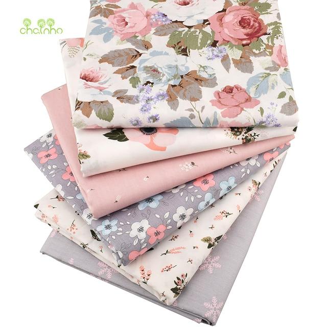 Chainho, Druck Köper Baumwollgewebe, Warme Rosa Blumen Für DIY Quilting Sewing/Tissue Von Baby & Kind/blatt, Kissen Material, Halben Meter