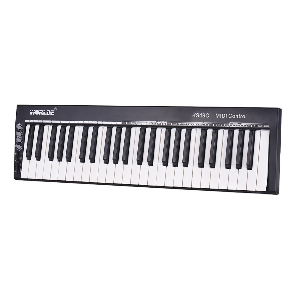 worlde midi keyboard controller ks49c 49 keys usb midi keyboard with pedal jack midi out. Black Bedroom Furniture Sets. Home Design Ideas
