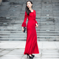 Red Flare Sleeve Wedding Long Dress Patchwork O neck Party Night Maxi Evening Clothing Full Length Dress DH1106