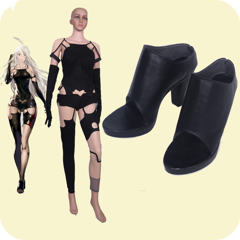 NieR Automata 2A YoRHa Tsuki A2 Cosplay Shoes Girls Black Shoes For Halloween Cosplay Custom Made