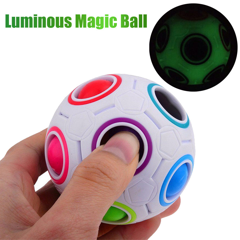 MUQGEW New Luminous Stress Reliever Rainbow Magic Ball Plastic Cube Twist Puzzle Toys For Kids Gift