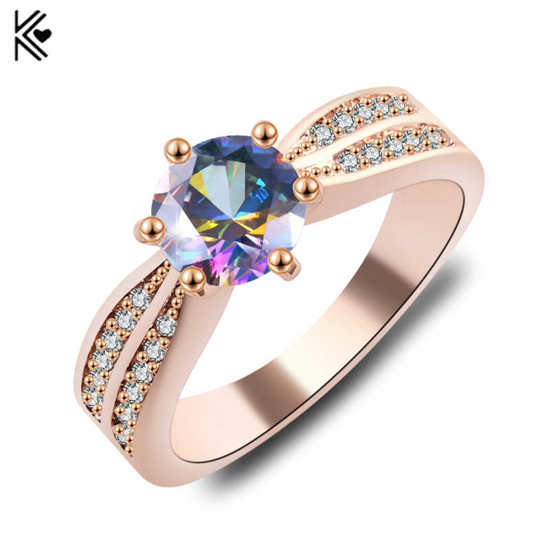 2019 New Fashion Jewelry Women Wedding Rainbow Opal Rings Colorful CZ Rose Gold Filled Engagement Ring Gifts For Valentine's Day