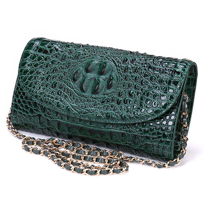 2017 Women Aligator Designer Flap Messenger Crossbody Genuine Leather Bags Shoulder Handbag Flap Chains Bag Green Party Clutch