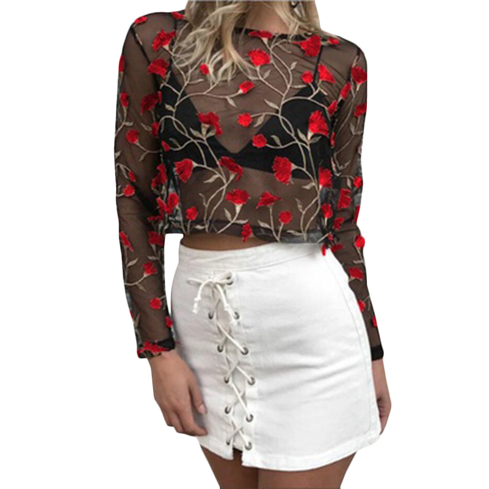 Women vintage flower embroidery shirts long sleeve  2 colors o neck blouse ladies casual tops blusas