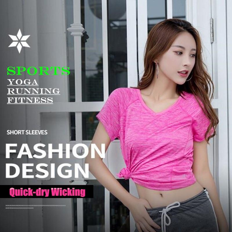 Women&Girl Sport GYM Fitness Running T-Shirt Quick-dry Wicking High-Elastic Breathable V Neck Undershirt YOGA Short Sleeve Tops
