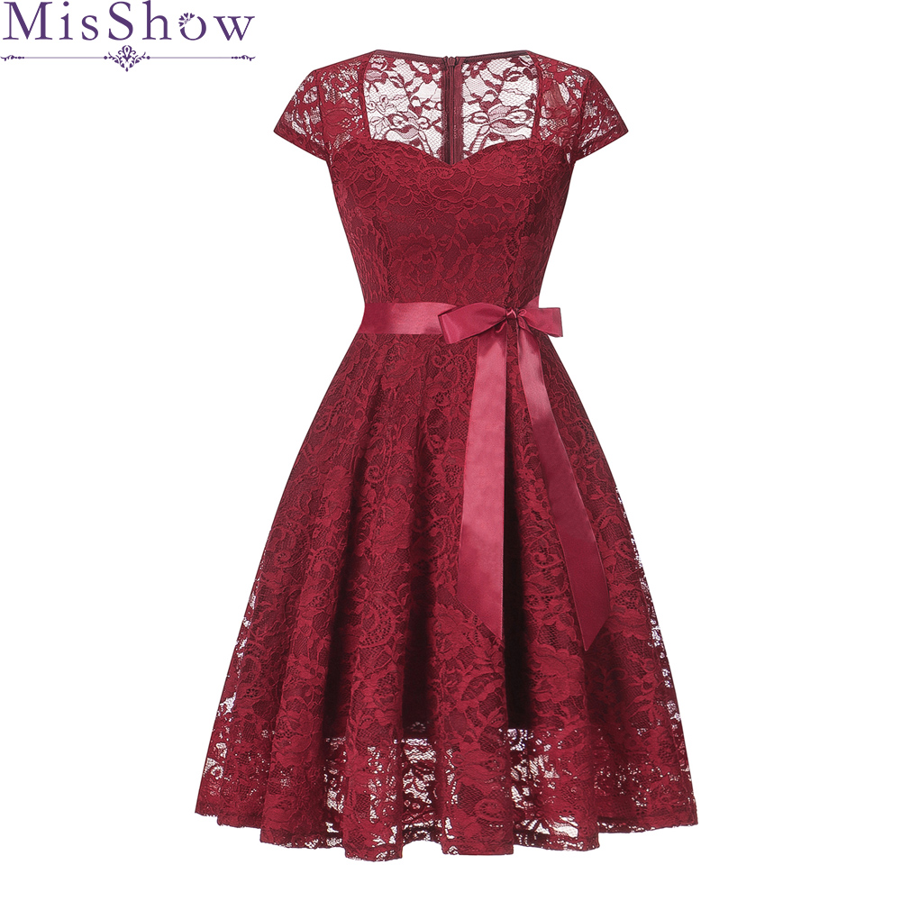2018 Autumn And Winter   Cocktail     Dresses   Short Sleeve Full Lace Short Party Gown Women Elegant Illusion Sweetheart vestido coctel