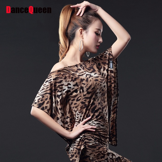 Cheap Latin Dance Frock For Ladies 3 Color Sexy Leopard Printing Classical  Ice Silk Tops Wear Arena Ballroom Dancing Shirt 13184 cdc4e0293