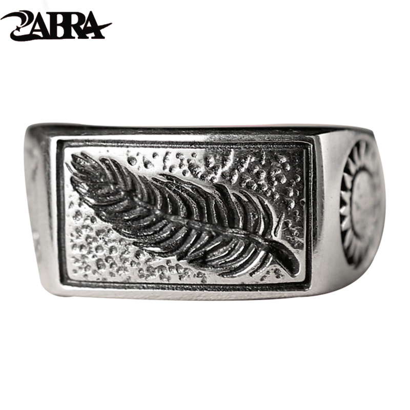 ZABRA Luxury Solid 925 Sterling Silver Men Ring Engraved Leaves Love Sword Sun Vintage Retro Steampunk