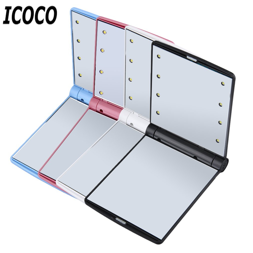 ICOCO Portable Foldable Magnetic Opening LED Make Up Mirror Lady Cosmetic Vanity Mirror Gift Built In LED Bulbs Mirror Drop Ship