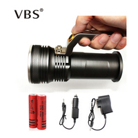 T6 Movable Outdoor Lighting Rechargeable Portable Camping Spotlight LED Flashlight For 2 18650 Battery Include Charger