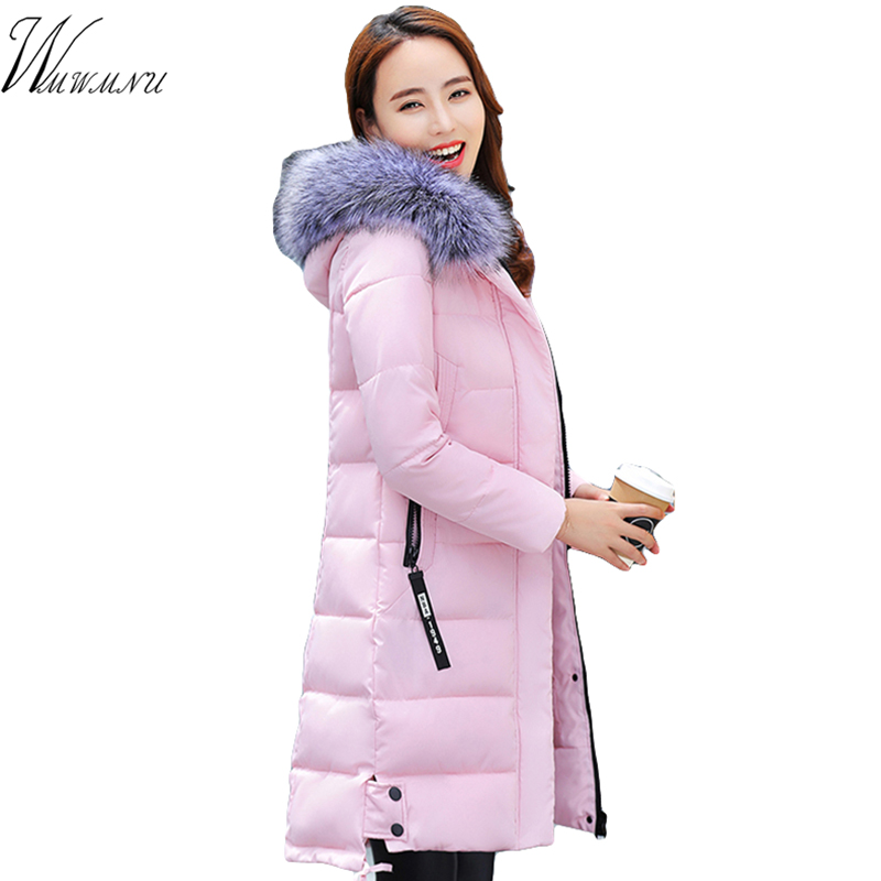 Winter Women Jacket 2017 New Women Hooded Warm Medium long Down Cotton Coat Solid color Slim Large size Female Parkas winter women down jacket hooded thick warm cotton coat large size new style casual jacket slim long sleeve medium long coat 2580
