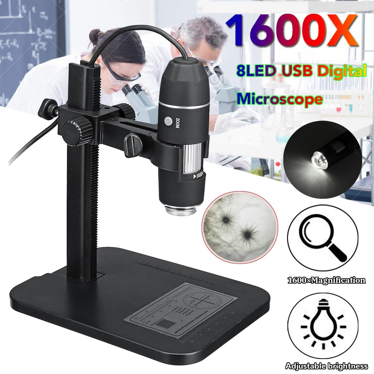 1600X 8LED microscopio USB Digital de microscopio de electrones con regla de medición soporte