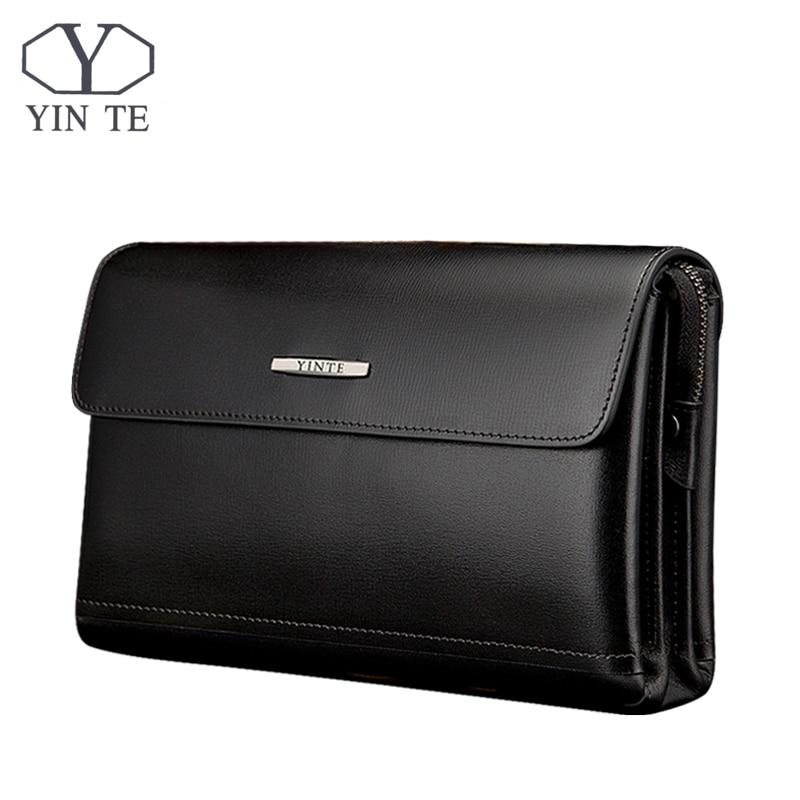 YINTE 2017 Men's Clutch Wallets Leather Men Big Bags High Quality Leather Men Business Clutch Bag Portfolio T8372-2