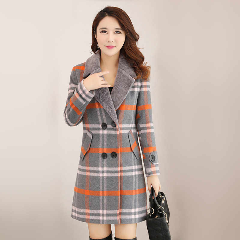New Women Wool Blends Coat Winter 2018 Fur Collar Plaid Orange Green Thicken Woolen Jacket Loose Long Tops Outerwear Female