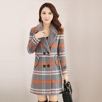 New Women Wool Blends Coat Winter 2018 Fur Collar Plaid Orange Green Thicken Woolen Jacket Loose Long Tops Outerwear Female