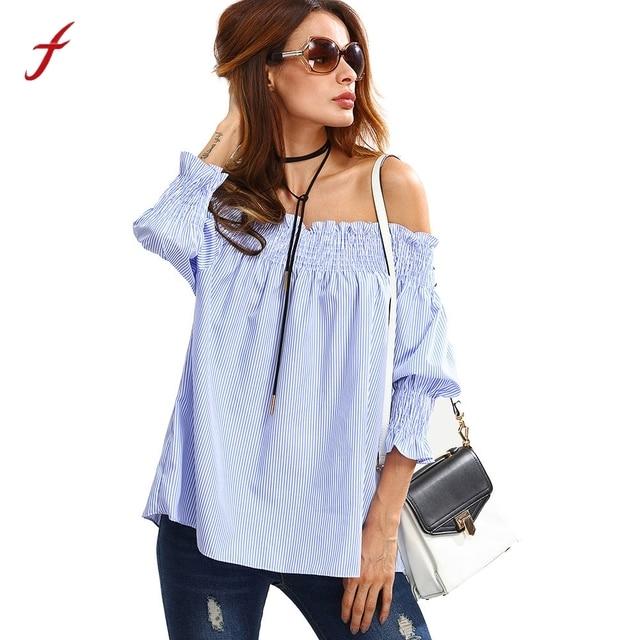 345b862b0b Women Girls Fashion Cotton Blue White Striped Tops Tee Shirt Off the  Shoulder 3/4 Sleeve Shirts Loose Elastic Ruffle Blouse