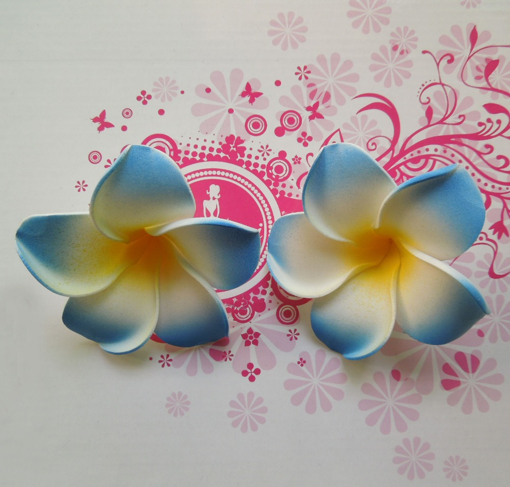 100pcs 4cm eva foam frangipani hair flowers artificial hawaiian 100pcs 4cm eva foam frangipani hair flowers artificial hawaiian plumeria flower heads for diy hair clip party wedding decoration in artificial dried izmirmasajfo