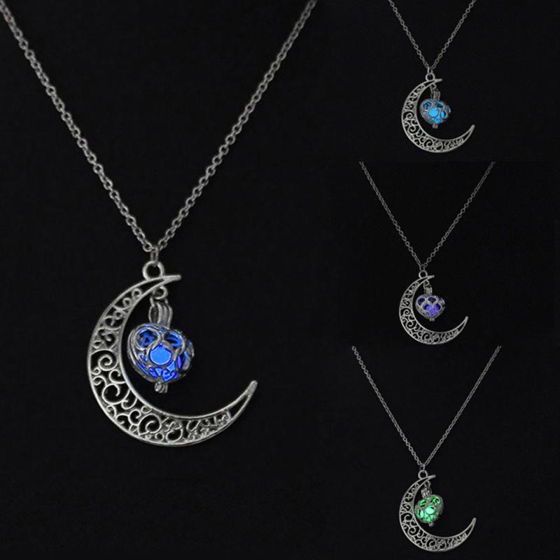 Magic Moon Heart Glow In The Dark Necklace Vintage Steampunk Hollow Love Glowing Luminous Necklaces for Women Jewelry