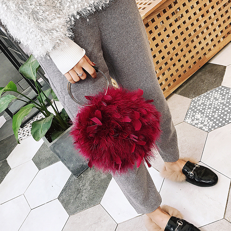 Crossbody-Bag Ostrich-Feather-Chain Round Furry Magnetic Ring-Bag Buckle Plush-Bag Women's