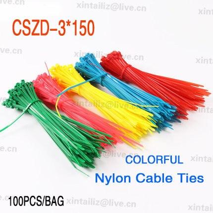 CSZD 3*150] Free Shipping 100pcs five colors nylon wire ties 3 ...