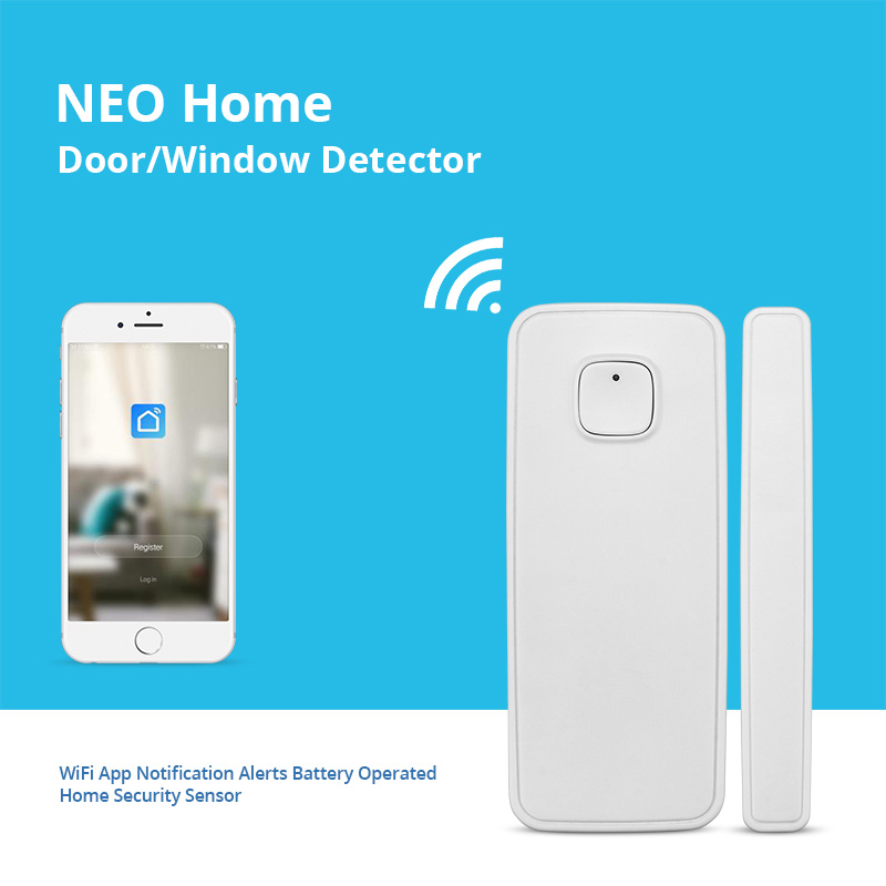 FUERS Home Security Wireless Smart WiFi Door Window Sensor Magnetic Detector Alexa Compatible APP Control Work With Amazon Alexa