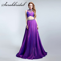 robe de soiree 2019 Pageant Dresses for Elegant Beauty Queen Prom Dress Women Ladies Bridal Party Purple Two Piece Gowns LX149