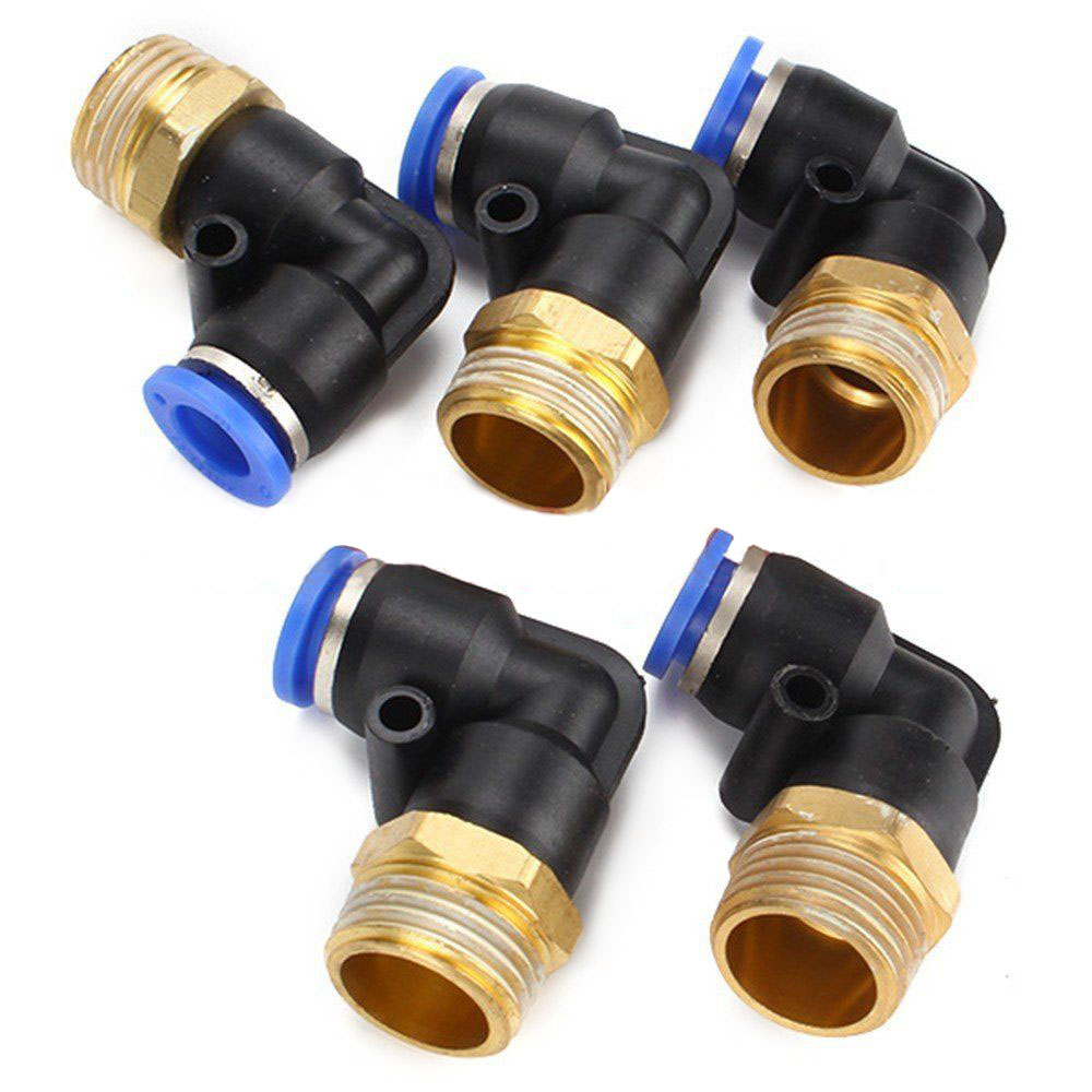 5 x Elbow Pneumatic Jointer Quick Connector Fittings 1/2 Inch BSPT 10mm 90 Degree 10pcs lot 4mm to 1 4 bspt elbow male air pneumatic quick connect jointer connectors fitting pl4 02