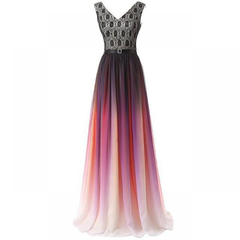 Vestido Dama De Honra Adulto Long Chiffon Bridesmaid Dress Lace A Line Wedding Formal Dresses Elegant V Neck Lady Prom Gowns