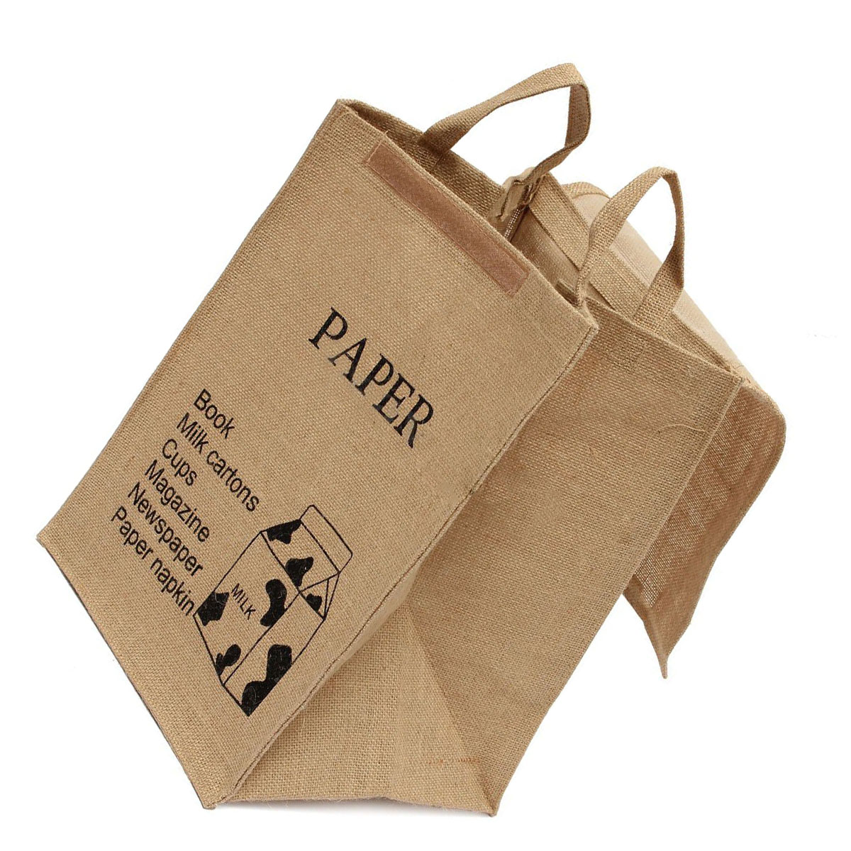 NOCM-Large Cotton Linen Folding Laundry Washing Clothe Basket Bag Bin Storage Hamper(Milk box Pattern)