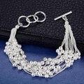 Lujo plata cluster bolas de pulsera para mujeres niñas esposa del banquete de boda elegent encanto fino grande brazalete de la pulsera de la joyería